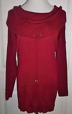 NWT Cupio Womens Cowl Neck Stretch Ribbed Sweater Top Viscose Acrylic Maroon L