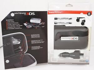 8 PC LOT - NINTENDO 3DS EXPLORER STARTER KIT BLACK CASE EAR BUDS CAR CHARGER ETC