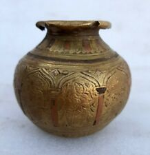 Antique Old Rare Brass Copper Hand Made God Figure Carving Hindu Holy Water Pot