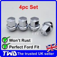 4x ALLOY WHEEL NUTS FOR FORD (M12x1.5) CHROME TAPERED SEAT 19MM HEX BOLT [4N]