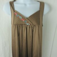 Vintage 70s JC Penny Long Brown Night Gown Size S Nylon Made in USA