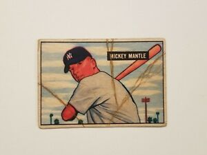 1951 Bowman Rookie - MICKEY  MANTLE - Creased & Real Look Aged Reprint - Yankees