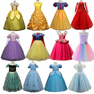 Kids Girls Princess Cinderella Elsa Dress Cosplay Costumes Party Fancy Dress-Up