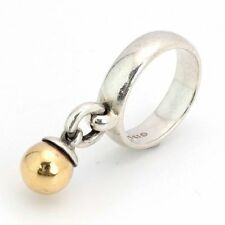 TIFFANY & CO 1995 FASCINATION 925 STERLING SILVER 750 GOLD 18k BALL CHARM RING