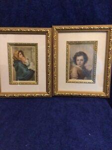 2 Framed Satin Prints Classic Portraits