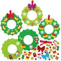 Xmas WREATH Mix Match Foam Decoration Kits Kids Crafts Festive Creative Activity
