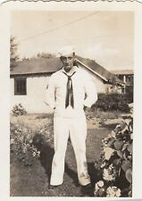 Vintage Photo Sailor Posing in Backyard Flower Garden White Uniform Military Guy