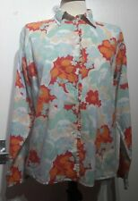 Boden Bright Floral Print Long Sleeve Shirt Size 12 UK Bright Cheery Ruffles