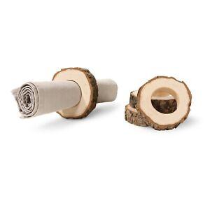 Servietten Ringe 4 tlg. mit Rinde Holz