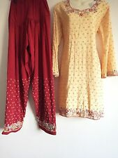 Salwar Kameez Saree Sari Indian Bollywood Fancy Dress Costume Red (S) uk10