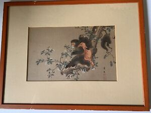 19TH CENTURY  ARTIST SIGNED JAPANESE WOODBLOCK FAMILY OF MONKEYS