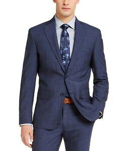 $525 DKNY Slim-Fit Stretch Italian Wool Suit Jacket -Stitch Blue Stripe- 36S