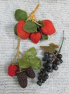 Three Life Size Plastic Fruit Grapes Bunch Strawberries Raspberry etc FREE S/H