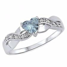 Sterling Silver 0.6ct Heart-cut Aquamarine Ice CZ Crossover Promise Ring, Palesa