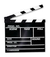 Filmklappe groß - 30,5 x 27 cm - Regieklappe Clapperboard Schwarz-Weiß - NEU OVP
