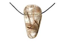 Pendentif quartz rutile (pierre trouée) + cordon en cuir