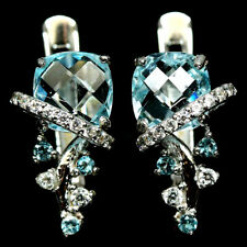 NATURAL SKY BLUE TOPAZ & WHITE CZ EARRINGS 925 STERLING SILVER