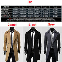 Mens Trench Coat Winter Warm Long Wool Jacket Double Breasted Parka Outwear Tops