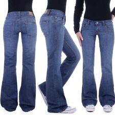 Damen Marlene Schlaghose Schlagjeans Bootcut Hüftjeans weites Bein Jeans D97