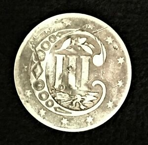 1856 Antique Silver Three Cent Coin III Trime
