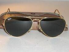 1980's 58MM VINTAGE BAUSCH & LOMB RAY BAN GP G15 CABLE-WRAPS AVIATOR SUNGLASSES
