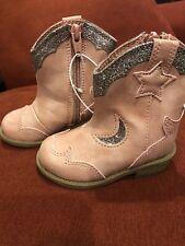 Nwt Cat & Jack Girls Sz 4 Pink Cowboy Boots w/ Silver Glitter & Zipper