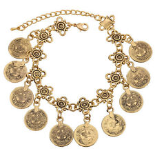 Coin Charm Bracelet Anklet Silver Gothic Vintage Bohemian Moon Lovers Turkish