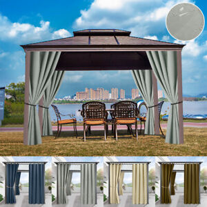 4 Panels Pergola/Patio Outdoor Curtains Waterproof Curtain Eyelets Thermal Draps