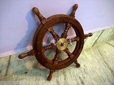 "Antique Vintage Marine Wooden Ship Wheel 15 "" Nautical Pirate Collectible Decor"