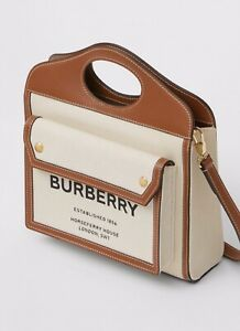 Burberry Mini Two Tone Canvas Leather Pocket Bag Malt Brown,Limited Edition, New