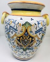 """Chinese Asian Pottery Flower Ginger Jar Vase Blue Yellow White 12"""" Tall 10"""" Wide"""