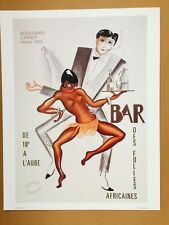 AFRICAINES BAR JOSEPHINE BAKER Vintage Poster Printed  By Icart Vendor 1986  P-6