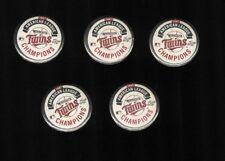 (5) 1987 Minnesota Twins AL Champs pins buttons lot Kirby Puckett World Series