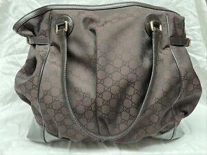 Gucci 527290/521753-04 Nylon Tote Bag Shima Line Dark Brown 16x8x14 Strap 8
