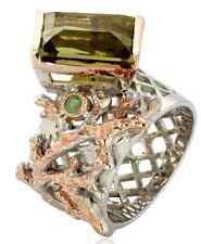 Green Amethyst Jewlery Modern Design 925 Sterling Silver Ring Size 8 wow