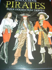 """Rare Dover """"Famous Movie Pirates Paper Dolls by Tom Tierney"""" New Uncut J Depp"""