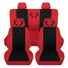 Fits 2014-2018 Chevrolet Silverado Black and Red Antler Seat Covers 60-40 Rear