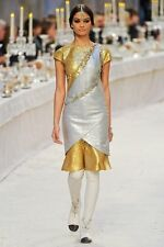 New w Defects $6,265 CHANEL Gold Silver Sequin Layered Dress 12A Sz 34 ( 0 , 2 )