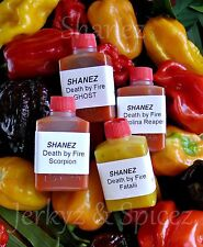 5x15ml Shanez 'Death By Fire'(Hot Sauce)Chilli ~Reaper~Scorp~Choc Scorp~Fatalii