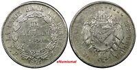 Bolivia Silver 1871 PTS FP 1 Boliviano XF Condition KM# 155.3