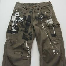 INDUSTRIE 99 Mens Cargo Jimi Hendrix Pants Regular Fit Straight Leg W30-32 Khaki
