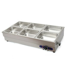 6-Pan Electric Countertop Bain-Marie Buffet Food Warmer Steam Table 41×23×15in