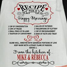 Personalized Recipe For Happy Marriage Apron.  Custom Romantic Marriage Apron