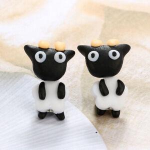 1pair Lady Handmade Polymer Clay Soft Earrings Cute Animal Piercing Ear Stud