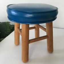 Mid Century Modern Childrens Ottoman Blue Leather Footstool Round Time Out Chair