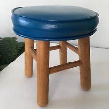 Mid Century Modern Children's Ottoman Blue Leather Footstool Round Wood Vintage