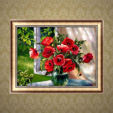 DIY 5d Diamond Painting Red Flowers Embroidery Cross Crafts Stitch Home Decor