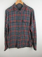 Woolrich Mens Shirt Size XL Long Sleeve Button Up Regular Fit Grey Red Plaid