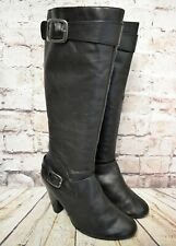 WOMEN'S A1255 WIDE LEG KNEE HIGH MID CALF STILETTO HEEL STRETCH RIDING BOOTS