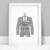 Personalised Word Art Best Man Usher Page Boy Suit Print Thank You Frame Gift
